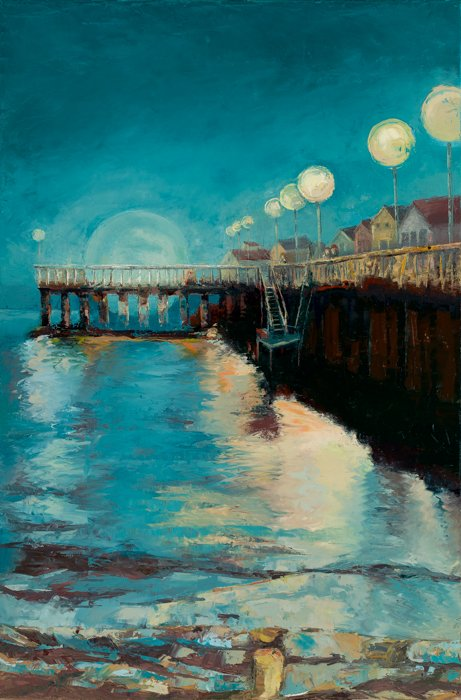 Moon Over Santa Cruz Wharf (2017) - Private Collection