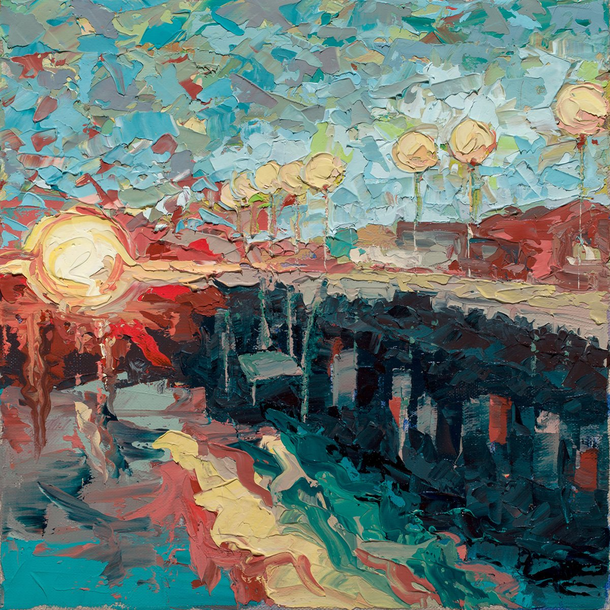 Sun Setting on Santa Cruz Wharf (2017) - Private Collection